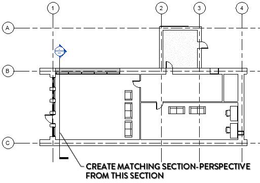 seccion perspectiva revit